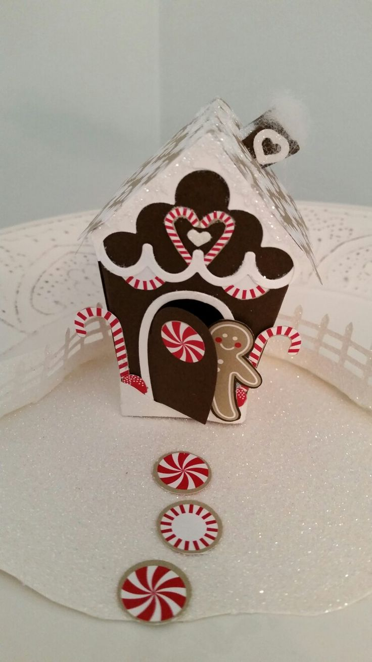 Front of paper Gingerbread house using Candy cane lane DSP created 09/2016 by DebiPaisie, scraptabulous-stamper.blogspot.com