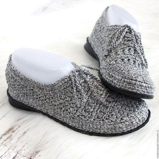Обувь ручной работы. Ярмарка Мастеров - ручная работа. Купить Мокасины вязаные Dark Silver. Handmade. Серый, сменная обувь