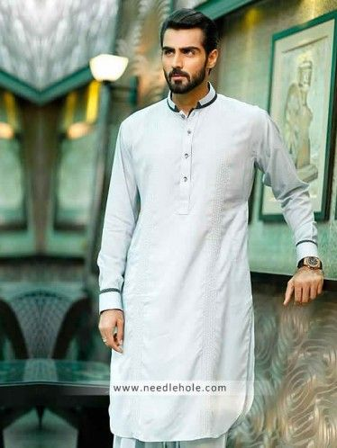 #Menswear #kurta shalwar suit in alice blue color. #Pleated front buttoned cuffs…