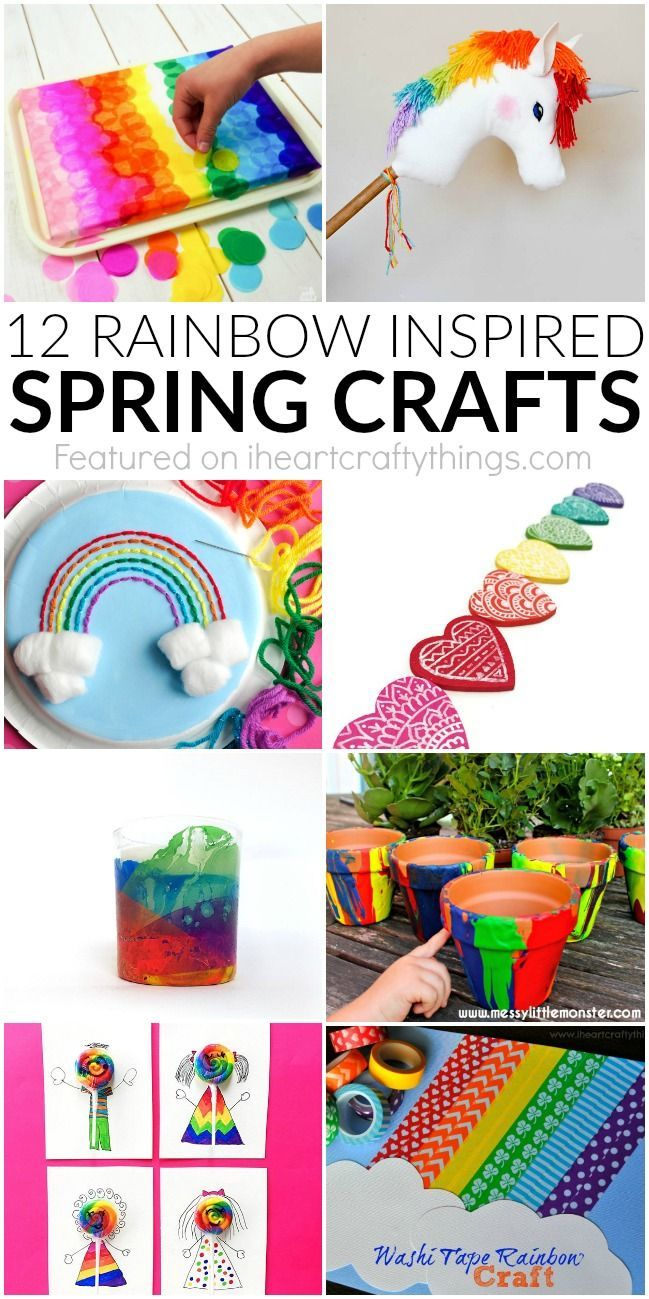 12 rainbow spring crafts perfect for spring kid crafts ideas or for crafting any time of the year. Fun rainbow crafts for kids.