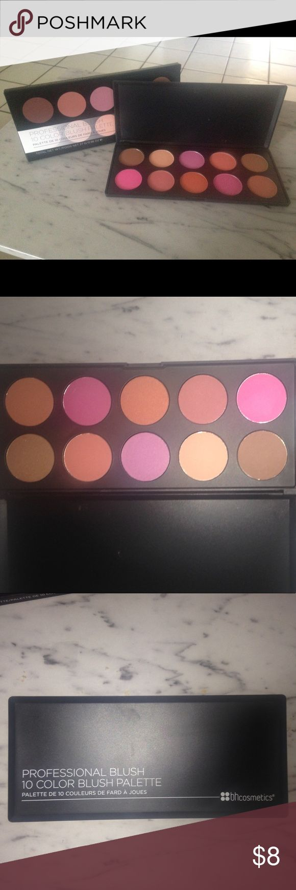 BH Cosmetics 10 Colour Glamorous Blush Palette Ordered these directly from BH Cosmetics online but wow! These are a little too bright for me. Brand new w/box - not even swatched. Ended up w/a Tarte blush palette I am gaga over!  Price firm BH Cosmetics Makeup Blush