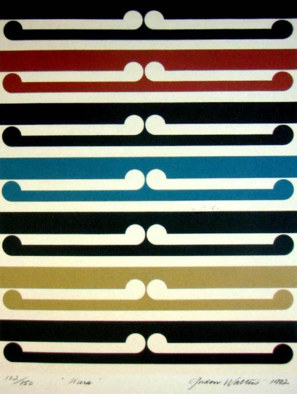 'Kura', multicoloured patterned screenprint by Gordon Walters, NZ. Blue, beige, black, red and white. 1982.