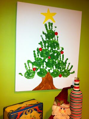 Might have my students make these together as their Christmas project. Each will take home a canvas with a tree made from all their classmates hands.