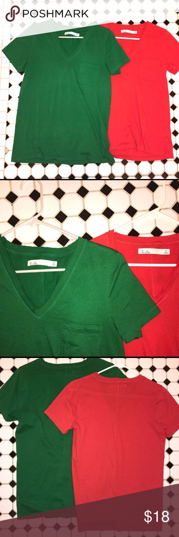2 Madewell Hi-Line V-Neck Tees 2 Madewell T-shirts by Hi-line. One bright red on Kelly green. Size medium. Worn once or twice. They have raw edging at the v-neck and a seam down the back. Madewell Tops Tees - Short Sleeve
