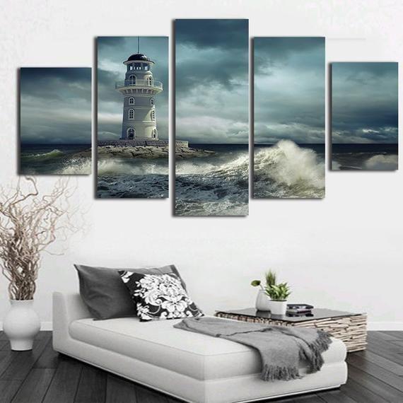 Multi Panel Canvas 5 Piece Canvas Wall Art Home Decor Framed Lighthouse 5 Panel Canvas Canvas Set Multi Panel