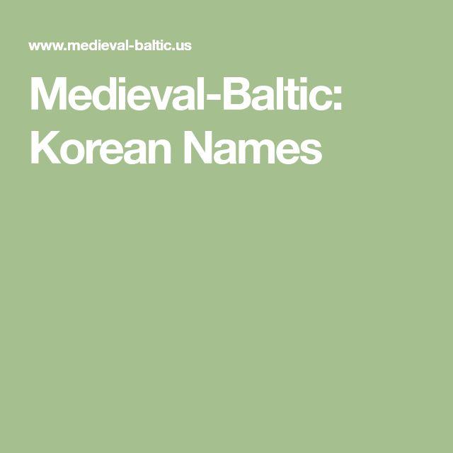 Medieval-Baltic: Korean Names