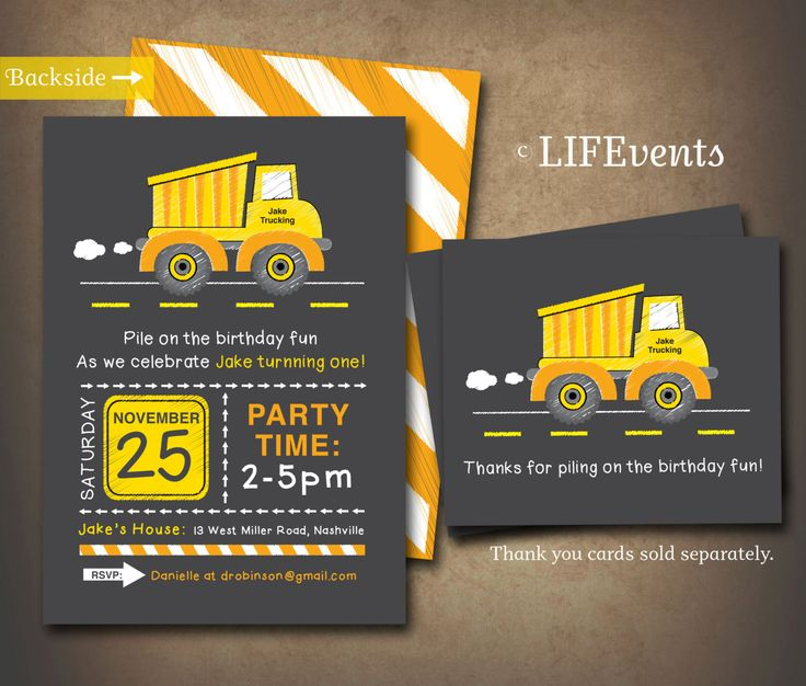 Yellow Dump Truck Construction Birthday Invitation by LIFEvents, $11.00