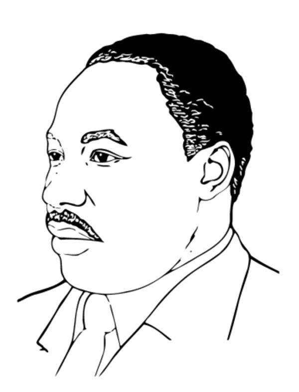 Face Martin Luther King Facing Side Coloring Page