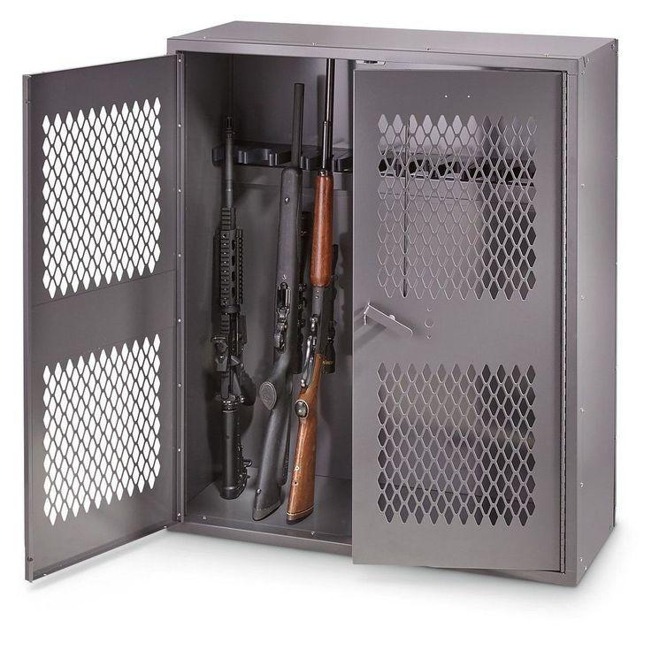 """Gun Locking Cabinet Shotgun Security Safe Rifle Rack 36""""W X 42""""H Metal Storage #GunLockingCabinet"""