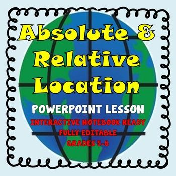 11 best absolute and relative location images on pinterest map 5th 8th grade world geography absolute relative location powerpoint lesson gumiabroncs Gallery