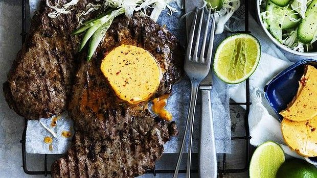 Minute-steak with chipotle butter and lime - this spicy, quick recipe by Neil Perry delivers maximum flavour for minimum effort.
