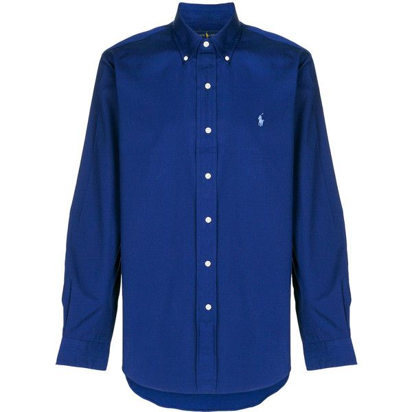 Polo Ralph Lauren Logo Printed Cotton Shirt ($135) ❤ liked on Polyvore featuring men's fashion, men's clothing, men's shirts, men's casual shirts, blue, mens extra long sleeve shirts, polo ralph lauren mens shirts, mens blue shirt and mens long sleeve cotton shirts