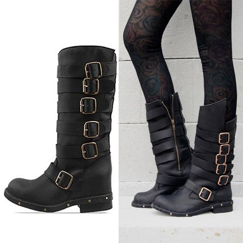 Excellent  Vintage Shoe Company Gretchen Harness Boots  Leather For Women