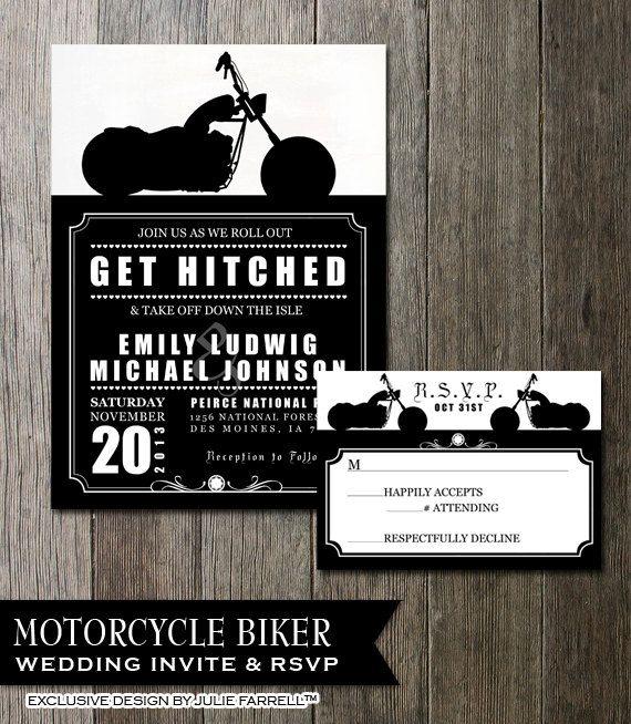 Biker Motorcycle Wedding Invitation DIY Printable Digital Invite And RSVP Card Rocker Wedding