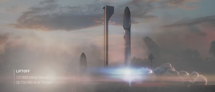 Launch of Mars Colonial Transporter (Interplanetary Transport System). Official design by SpaceX.