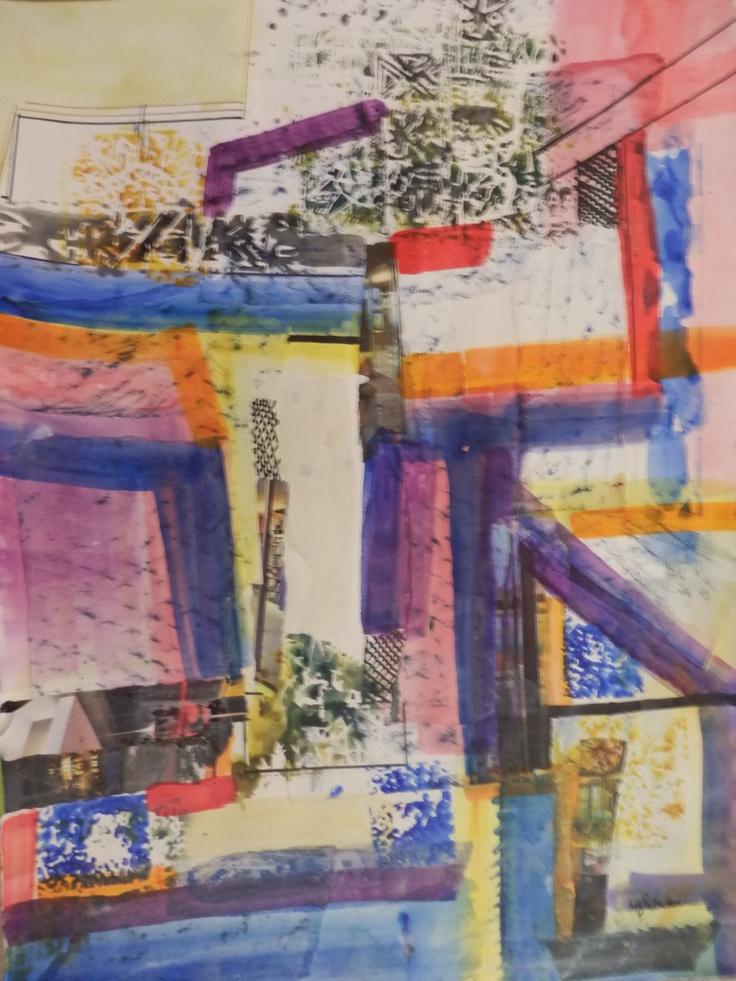 City Scene (acrylic on paper) . Sold