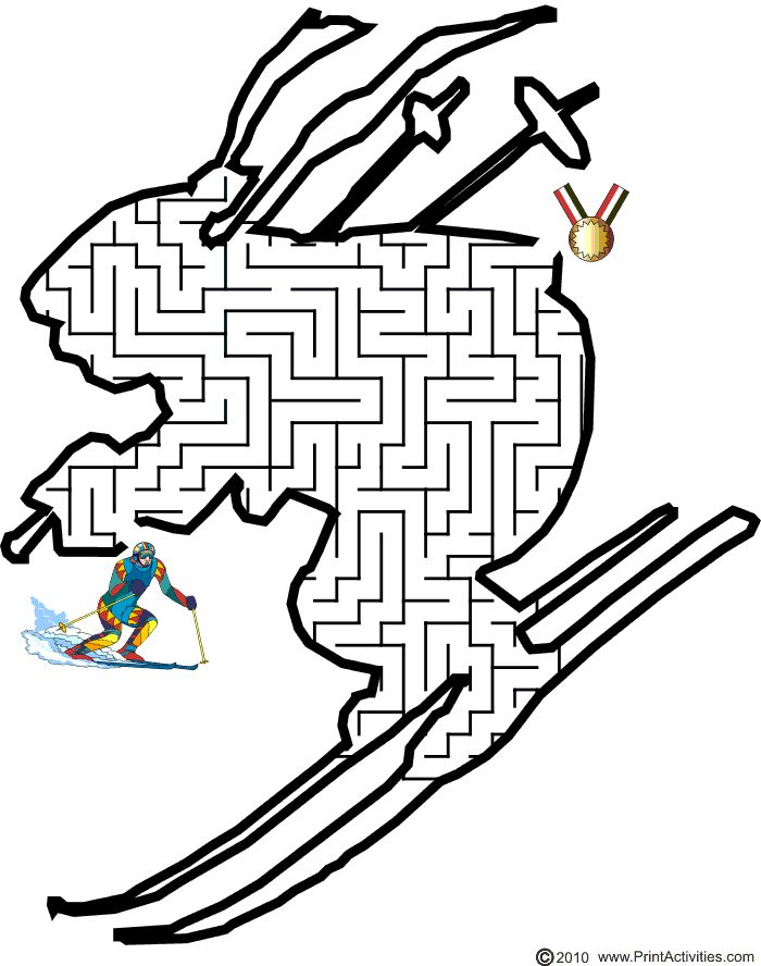 Ski Maze: Guide the downhill skier to the gold medal.