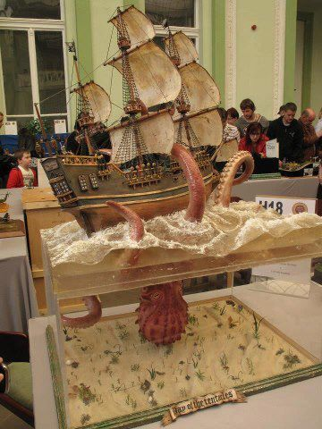 Mosonmagyarvar Model Show - Kraken ship model with giant squid or octopus.