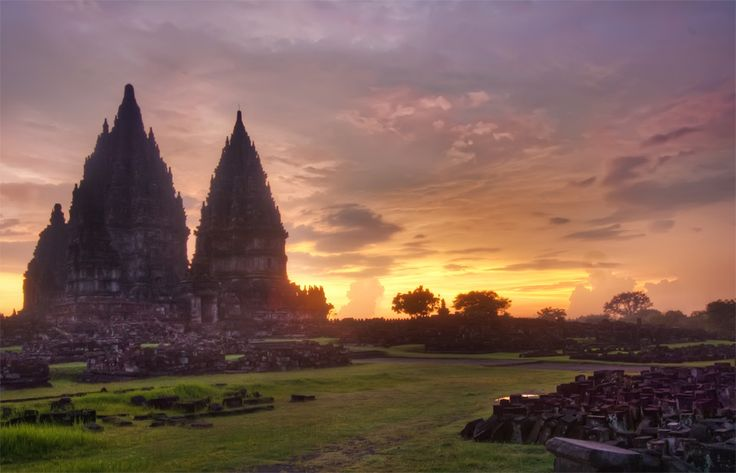 """The """"lost"""" Hindu Temple Prambanan (850 CE)  in Java just outside the town of Jogjakarta."""