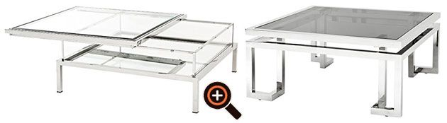 Designer glass & metal coffee table – modern in silver, gold & white