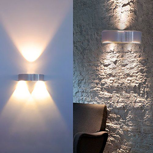Auralum® 3W LED Wandleuchte Wandbeleuchtung Designerlampen Treppenleuchten 300LM Aluminum (Warmweiß) für Innen (Nicht wasserdicht)