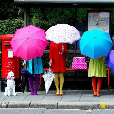 Umbrellas: Colors Trends, Rainy Day, April Shower, Happy Colors, Poodle Color Pink, Fashion Accessories, Spotty Umbrellas, Umbrellas Art, Bold Colors