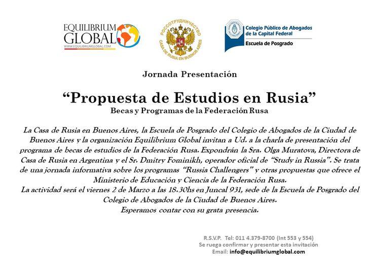"""Abrimos el calendario 2018 de eventos de Equilibrium Global con la charla """"Becas y Estudios en #Rusia"""". Junto a la Escuela de Posgrado del Colegio de Abogados de Ciudad de Buenos Aires."""