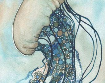 Ortica di Aqua mare Medusa 5 x 7 stampa di opere d'arte
