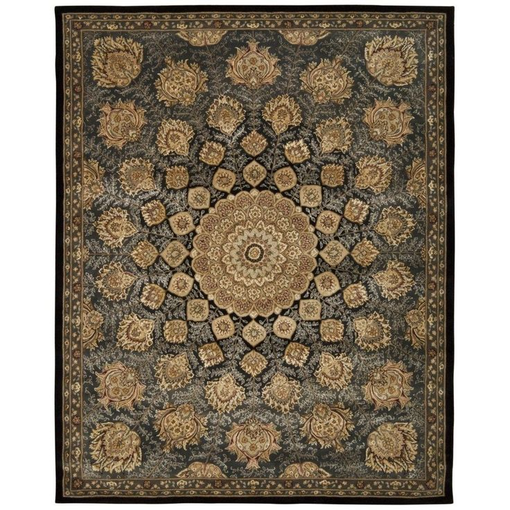 Nourison 2000 Floral Black Rug (9'9 x 13'9) - Overstock™ Shopping - Great Deals on Nourison 7x9 - 10x14 Rugs