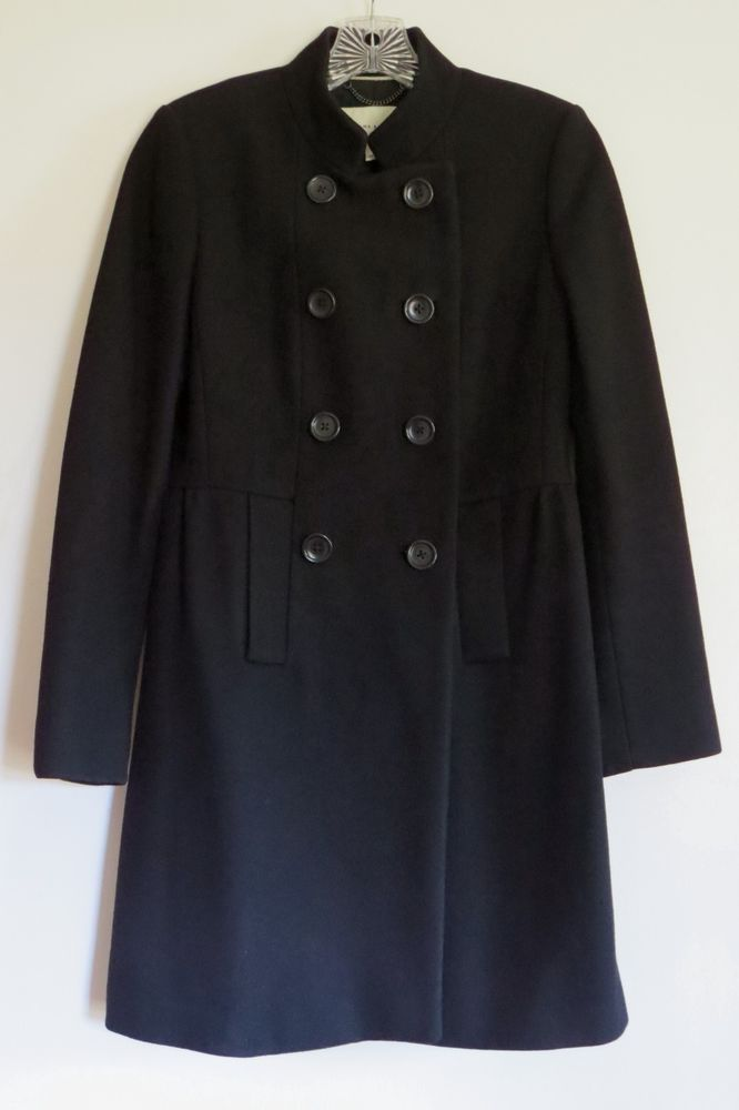 Banana Republic Black Wool Blend Princess Line Pea Coat Jacket Small VGUC! #BananaRepublic #Peacoat