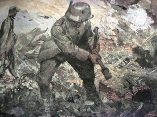 3-RARE-ORIG-1916-18-GERMAN-WW1-HISTORY-BOOKS-PHOTOS-WAR-ART-MAPS-COMPLETE-SET
