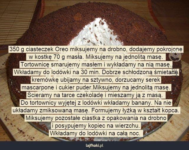 Jak samodzielnie zrobić kopiec kreta? - 350 g ciasteczek Oreo miksujemy na drobno, dodajemy pokrojone  w kostkę 70 g masła. Miksujemy na jednolitą masę.  Tortownicę smarujemy masłem i wykładamy na nią masę. Wkładamy do lodówki na 30 min. Dobrze schłodzoną śmietanę kremówkę ubijamy na sztywno, dorzucamy serek mascarpone i cukier puder.Miksujemy na jednolitą masę. Ścieramy na tarce czekoladę i mieszamy ją z masą.  Do tortownicy wyjętej z lodówki wkładamy banany. Na nie układamy zmiksowaną…