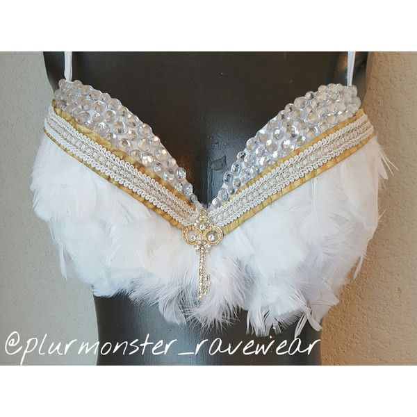 Victoria Secrets Angel Inspired White Feather Rave Bra White Angel... ($60) ❤ liked on Polyvore featuring intimates, bras, black, lingerie, women's clothing, black bra, black rhinestone bra, white bra, feather bra and black push up bra