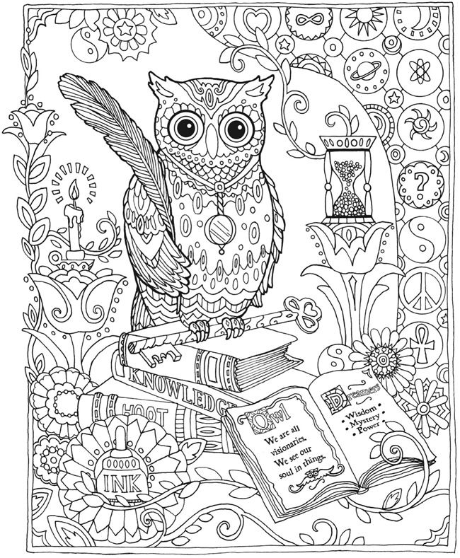 owl abstract doodle zentangle coloring pages colouring adult detailed advanced printable