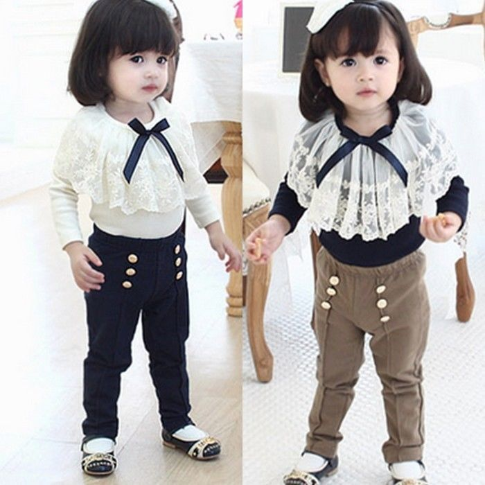 Kids+Girls++Toddlers+Lace+Shirt+And+Pants+Sets+Two+Pieces+Suits+3-8+Y+S386+#MN