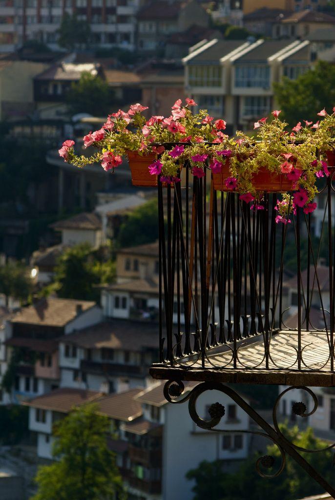 balcony with pretty flower boxes- Veliko Tarnovo, Bulgaria