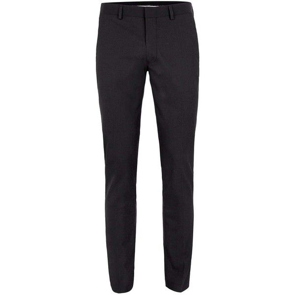 TOPMAN Black Textured Ultra Skinny Fit Suit Trousers (2,985 DOP) ❤ liked on Polyvore featuring men's fashion, men's clothing, men's pants, men's dress pants, men, black, mens skinny fit dress pants, mens skinny dress pants, mens suit pants and mens polyester pants