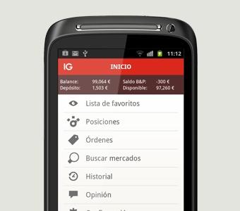 Con la aplicación de CFDs para Android podrá ver los precios en directo, además de recibir noticias en tiempo real.  Busque IG en Google Play para descargar la aplicación gratis.