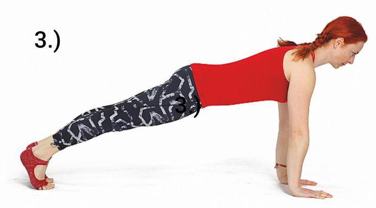 VZPOR  Výchozí pozice je na všech čtyřech. Hlava a kostrč se vytahují do dálky, dlaně jsou pod rameny, lokty natažené a prostor mezi lopatkami je vyplněný hrudním košem. Aktivujeme břišní svaly. Postupně zanožíme dolní končetiny a opřeme je o prsty. Naše tělo zaujímá pozici prkna. Po celou dobu cvičení se snažíme udržet vytaženou páteř a plynule dýchat.  # Pozor na postavení celé páteře. Bederní páteř se nesmí pohybovat a hrudní páteř naopak hrbit.