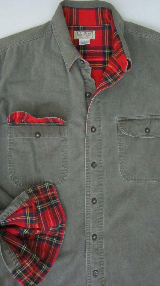 Vintage L L Bean Flannel Lined Denim Cotton Shirt Jacket