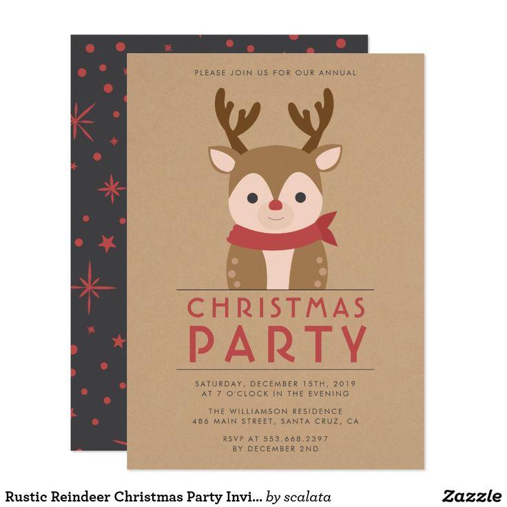 company christmas party invitation templates%0A Rustic Reindeer Christmas Party Invitation