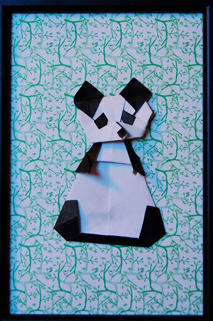 Cadre décoratif Origami Pandi Panda : Décoration pour enfants par petitspapierscelestes