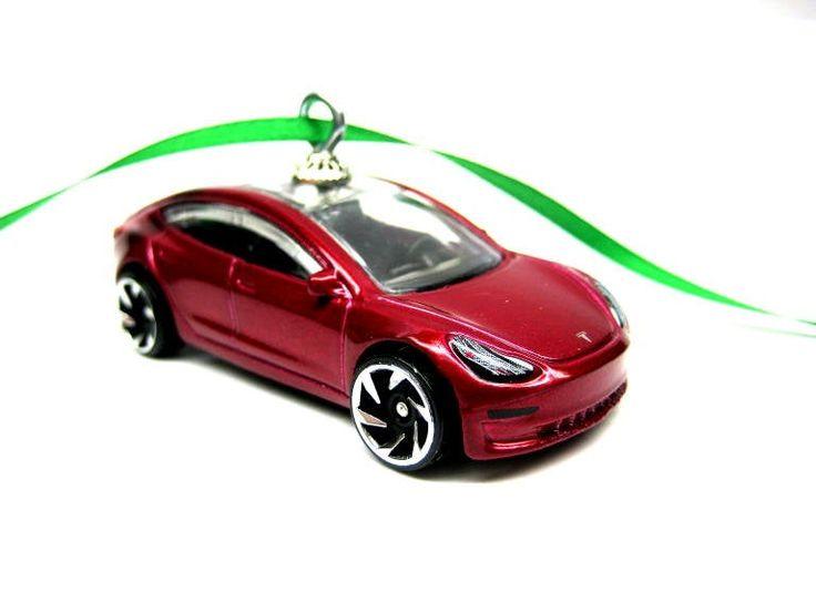 Red Tesla Model 3 EV Electric Car Hot Wheels Ornament ...