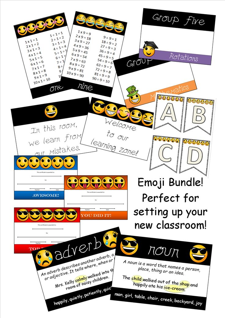 Enjoy setting up your classroom with this great bundle. Simply, print, laminate and decorate your room. All products are emoji themed and are similar in style. A total of 72 printable pages are included (plus cover pages).