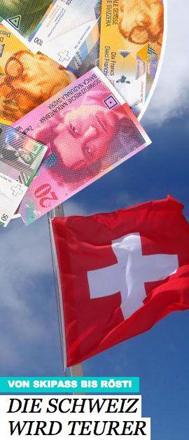 Der Schweizer Franken ist nicht mehr an den Euro gebunden. Das lässt die Preise in dem Alpenland kräftig nach oben gehen. Was das für den Tourismus bedeutet: http://www.travelbook.de/europa/Von-Skipass-bis-Roesti-Im-Schweiz-Urlaub-wird-alles-teurer-594259.html
