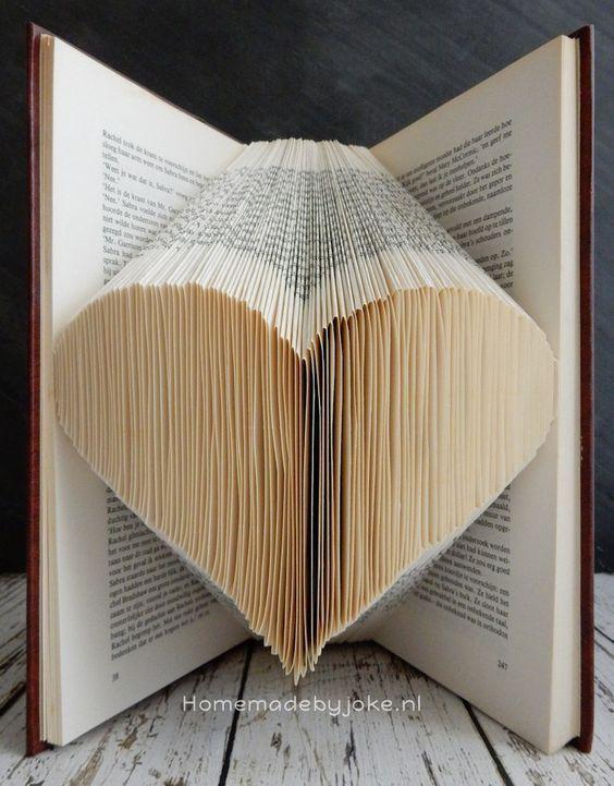 Al jaren wilde ik eens een boek vouwen en nu eindelijk eens gedaan. Ik heb gekozen voor boek vouwen hartje. Op mijn blog staat een duidelijk uitleg.