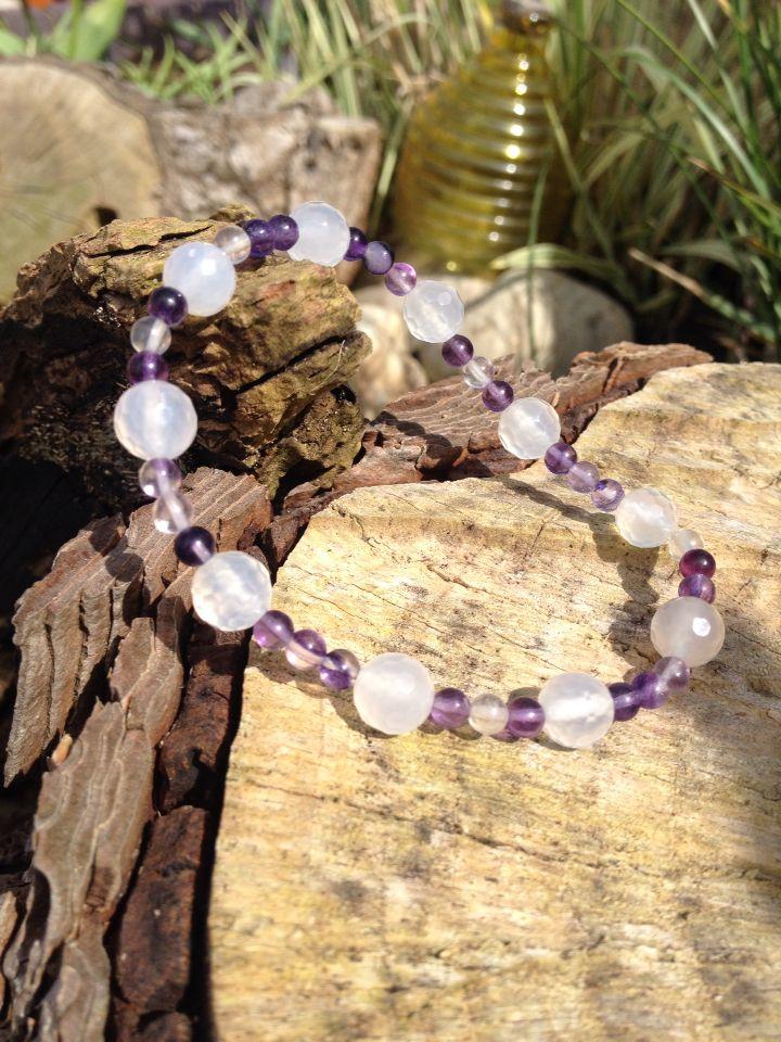 Pretty #summer bracelet. Fluorite and faceted white Quartz £10.00 #LoveByLou