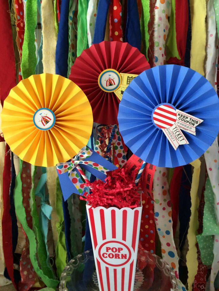 Carnival / Circus Party Centerpiece, 3 Decorated Paper Rosettes for Dessert Table or Candy Buffet at Circus Birthday with Carnival Tickets by QuiltedCupcake on Etsy https://www.etsy.com/listing/194685652/carnival-circus-party-centerpiece-3
