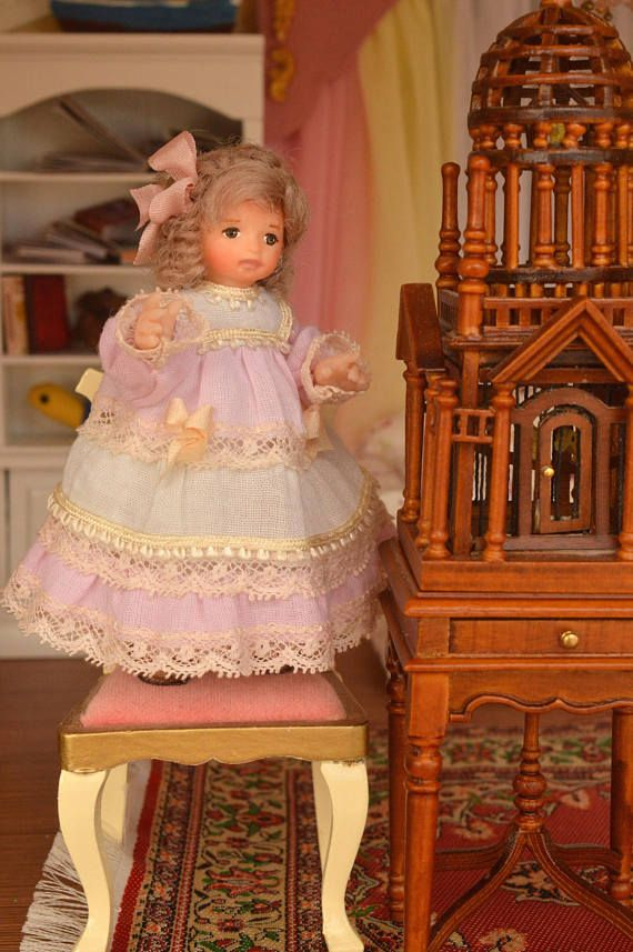 Miniature Doll Polymer Dollhouse in 1:12 Baby girl Collectible