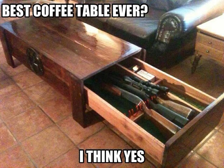 Reclaimed wood gun locker coffee table. Genius!